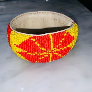 African bracelet beads and leathers (handmade)